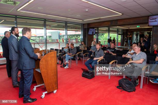 left spokesman Christian Arbeit and CEO Oliver Ruhnert of 1 FC Union Berlin during the press conference at Stadion an der alten Foersterei on May 15...