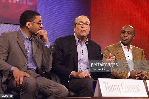 Left star of the Showtime Original Picture 'Keep the Faith Baby' Harry Lennix CoProducer Adam Clayton Powell III and Dennis Johnson at the Winter TCA...