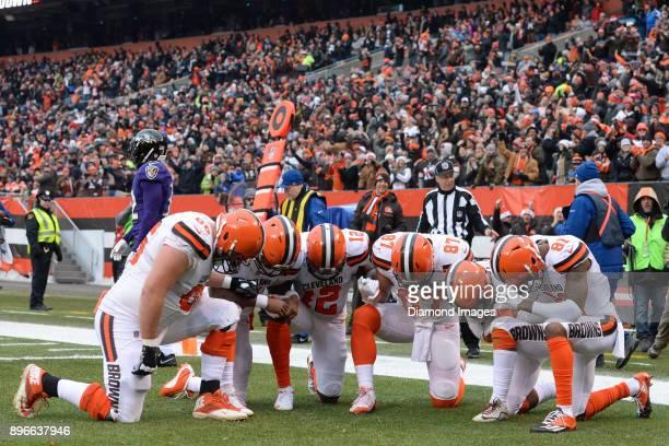 Left tackle Spencer Drango quarterback DeShone Kizer wide receiver Josh Gordon tight end Seth DeValve running back Duke Johnson Jr #29 and tight end...