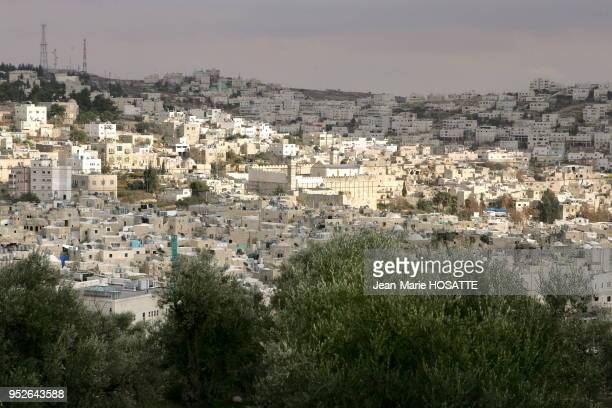 Left the Arad district of Hebron middle the Patriarchs' tomb right the Jewish district