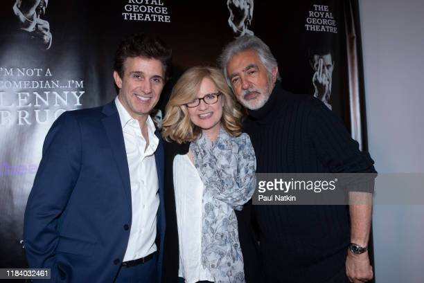 Left to right, actor Ronnie Marmo, who stars as Lenny Bruce, actress Bonnie Hunt, and actor Joe Mantegna, who directed the play, pose at the Chicago...