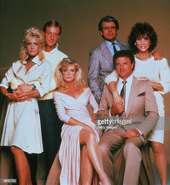 Left to right actors Joan Van Ark Donna Mills Ted Schackleford William DeVane Kevin Dobson and Michelle Lee from the television soap opera Knots...