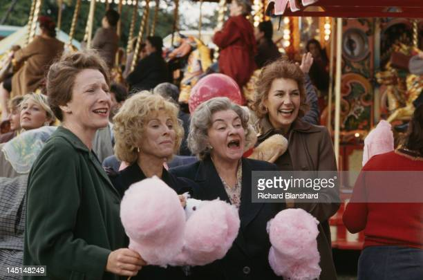 Left to right; actresses Charlotte Cornwell, Billie Whitelaw, Avis Bunnage and Susan Fleetwood in a scene from 'The Krays', directed by Peter Medak,...