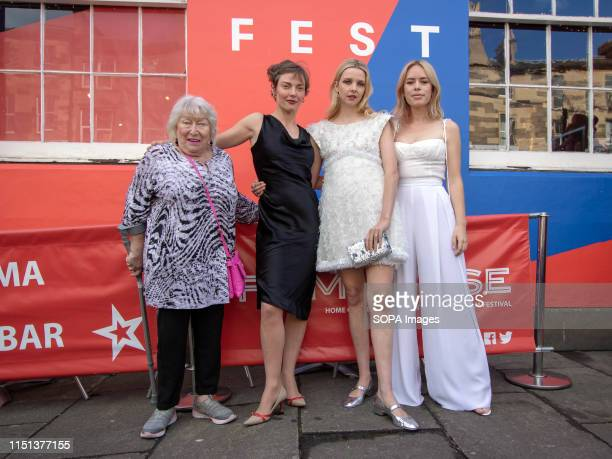 Left to right actresses Veronica Clifford and Camilla Rutherford Director and actress Greta Bellamacina and actress Tanya Burr attend the photocall...