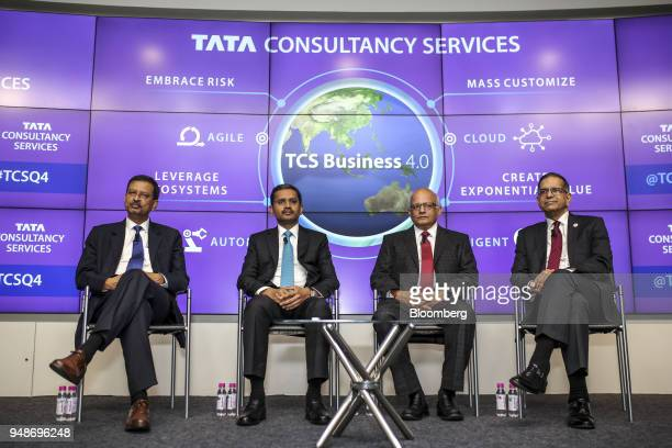 Left to right Ajoy Mukherjee executive vice president and global head human resources at Tata Consultancy Services Ltd Rajesh Gopinathan chief...