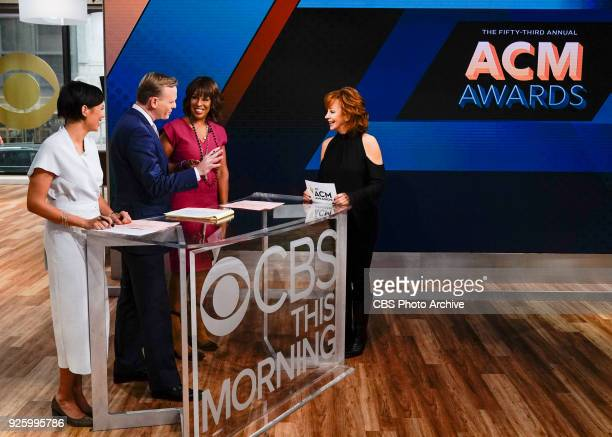 Left to right Alex Wagner John Dickerson Gayle King and visiting guest country music singer Reba McEntire Reba announces the nominees for the 53rd...