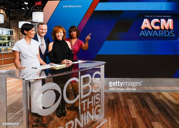 Left to right Alex Wagner John Dickerson visiting guest country music singer Reba McEntire and Gayle King Reba announces the nominees for the 53rd...