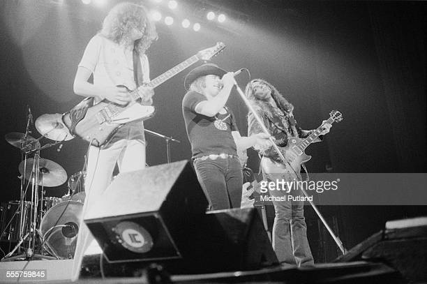 Allen Collins Ronnie Van Zant and Gary Rossington performing with American southern rock group Lynyrd Skynyrd 28th October 1975