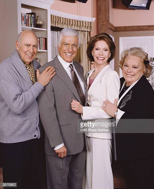 Left to right American actors Carl Reiner Dick Van Dyke Mary Tyler Moore and Rose Marie who reprise their roles as Alan Brady Rob Petrie Laura Petrie...