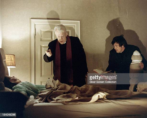 American actress Linda Blair as Regan MacNeil Swedish actor Max von Sydow as Father Lankester Merrin and American actor Jason Miller as Father Damien...