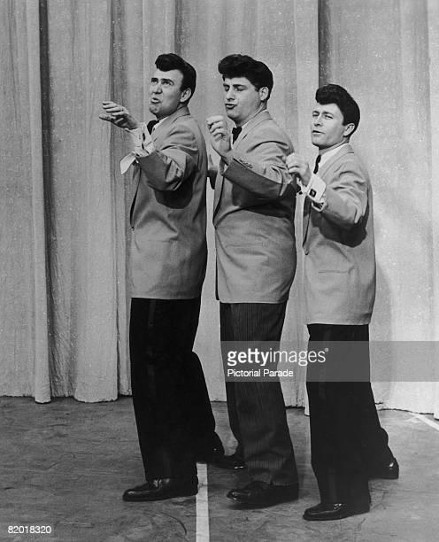 American comic actors Carl Reiner Sid Caesar and Howard Morris performing as a spoof doowop singing group circa 1952
