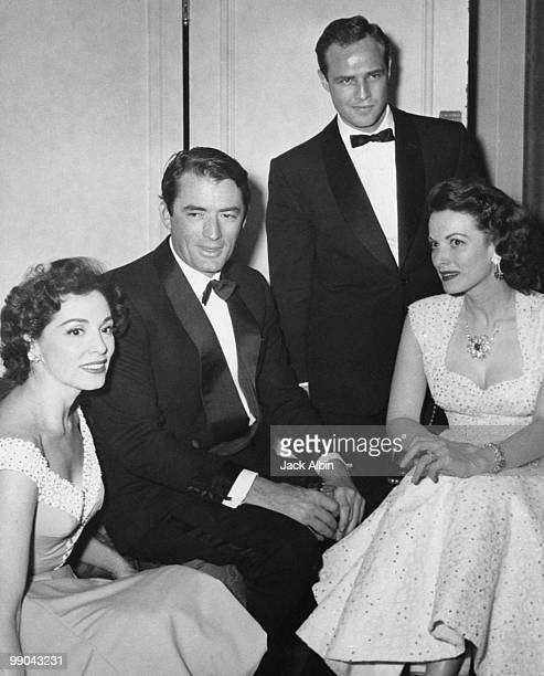 American singer Marguerite Piazza with actors Gregory Peck Marlon Brando and Maureen O'Hara at the Ambassador Hotel Los Angeles California circa 1955