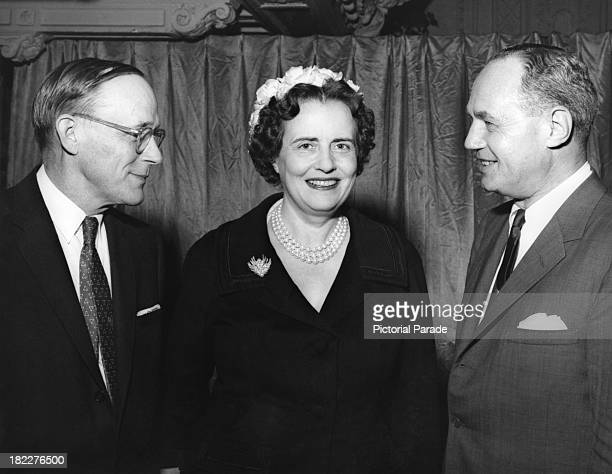 American surgeon Dr Warren Henry Cole American philanthropist and health advocate Mary Lasker and former Governor of Wisconsin Walter J Kohler Jr at...