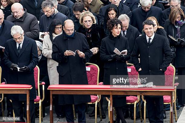 Left to Right Angelino alfano Agnese Renzi and Matteo Renzi attend the inaugural ceremony led by Pope Francis of the extraordinary Jubileum of Mercy