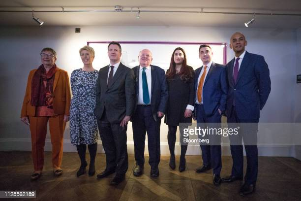 Left to right Ann Coffey UK lawmaker Angela Smith UK lawmaker Chris Leslie UK lawmaker Mike Gapes UK lawmaker Luciana Berger UK lawmaker Gavin Shuker...
