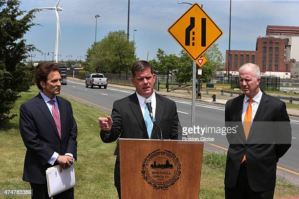 Left to right are Attorney Tom Frongillo Mayor Martin J Walsh and Attorney Eugene O'Flaherty Corporation Counsel Boston Mayor Martin J Walsh holds a...