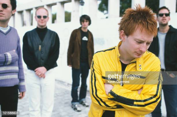 Left to right are bassist Colin Greenwood drummer Phil Selway guitarist Jonny Greenwood singer and songwriter Thom Yorke and guitarist Ed O'Brien of...