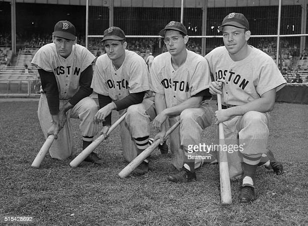 Left to right are Boston Red Soxers Ted Williams Bobby Doerr Dom DiMaggio and Vernon Stephens