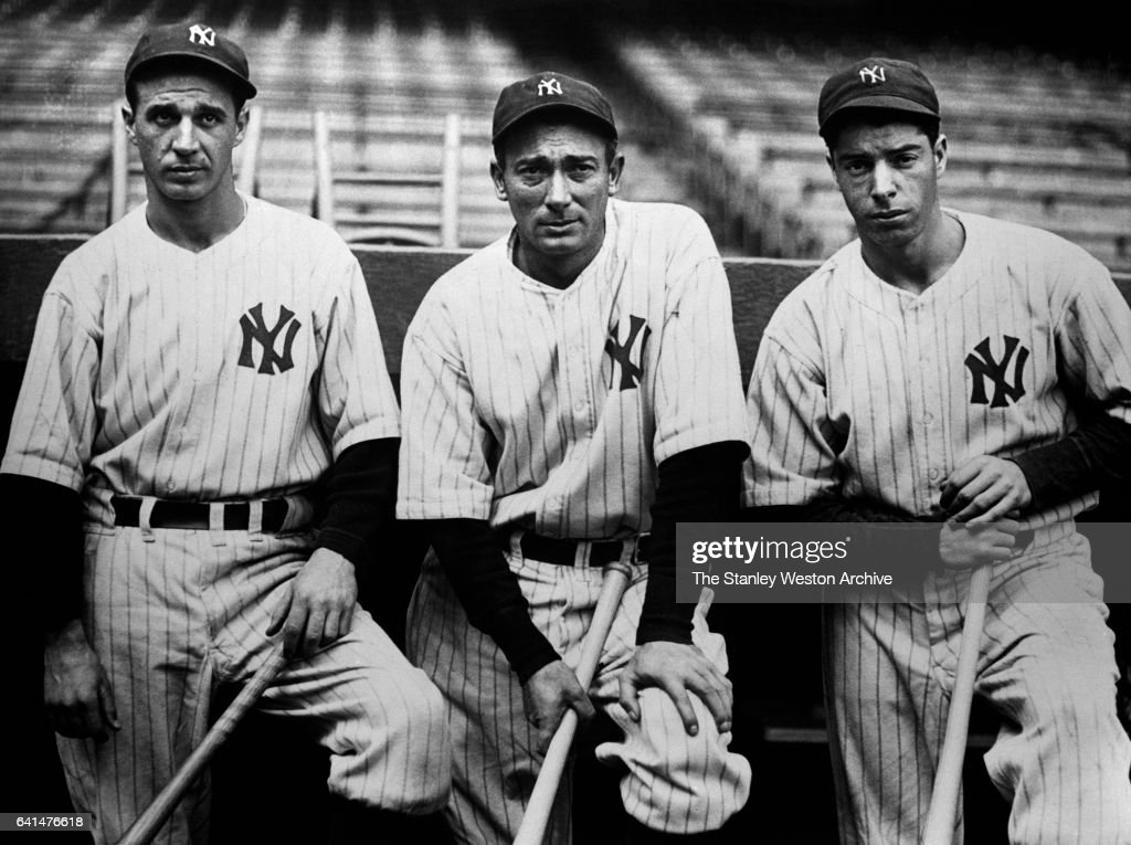 Left to Right are Frank Crosetti, Tony Lazzeri, and Joe DiMaggio of the New York Yankees, circa