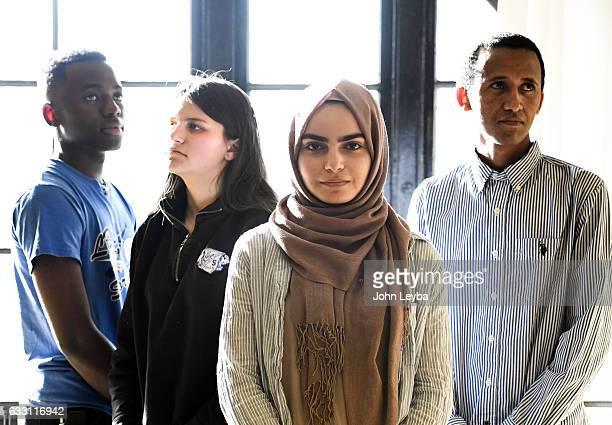 Left to Right are Lionel Kulembwa Senior Eliana Goldberg Junior Zahra Abdulameer Senior and Shambel Zero Sr all Denver South High School Students...