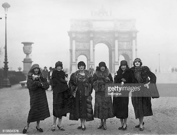 Left to right are Nina Byron Sybil Wilson Ruth Fallows Helen MacDonald Grace Girard and Yvonne Hughes members of the Follies who have scored a...