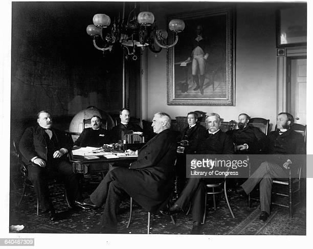Left to right are President Grover Cleveland Charles S Fairchild Secretary of the Treasury William C Whitney Secretary of the Navy Augustus H Garland...
