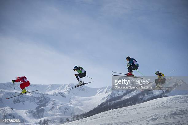 Left to right Armin Niederer of Switzerland Jouni Pellinen of Finland Scott Kneller of Australia and Thomas Borge Lie of Norway clear a jump during...