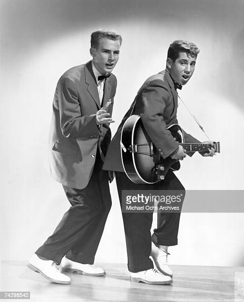 Left to right Art Garfunkel and Paul Simon as Tom and Jerry pose for a portrait circa 1957 in New York City New York