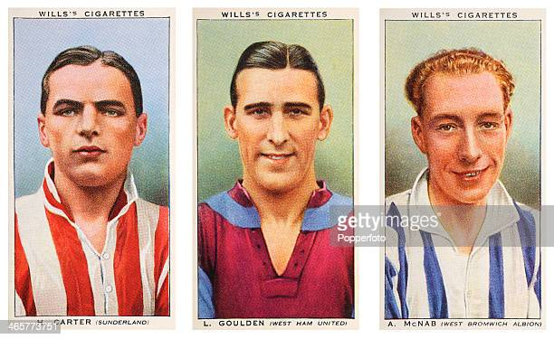 Left to right Association footballers Horatio Carter of Sunderland FC Leonard Goulden of West Ham United FC and Alexander McNab of West Bromwich...