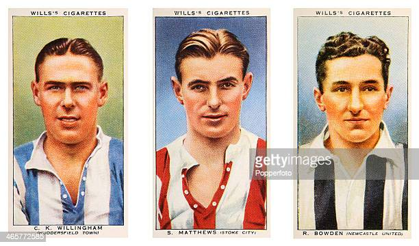 Left to right Association footballers Ken Willingham of Huddersfield Town FC Stanley Matthews of Stoke City FC and Ray Bowden of Newcastle United FC...