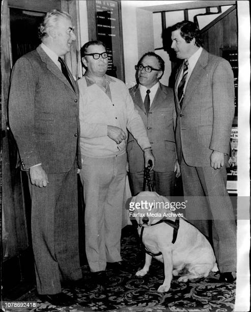 "Left to right at the Club this morning Mr Whitlam Mr Peter Carter of Randwick and his seeingeye Dog 'Caesar"" Sec Manager of the Club Mr George..."
