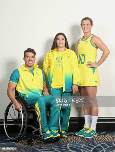Left to right Australian Athletes Nic Beveridge Georgia Godwin and Gabi Simpson pose during the Australian Commonwealth Games Team Uniform Launch at...