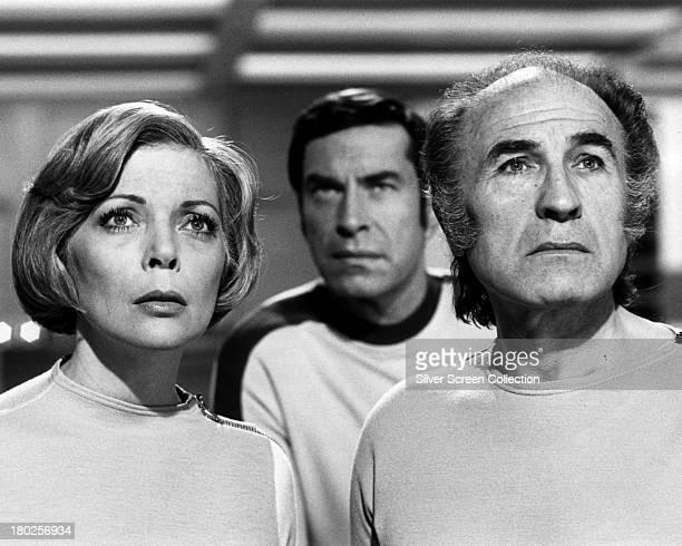 Barbara Bain as Doctor Helena Russell Martin Landau as Commander John Koenig and Barry Morse as Professor Victor Bergman in the British TV science...