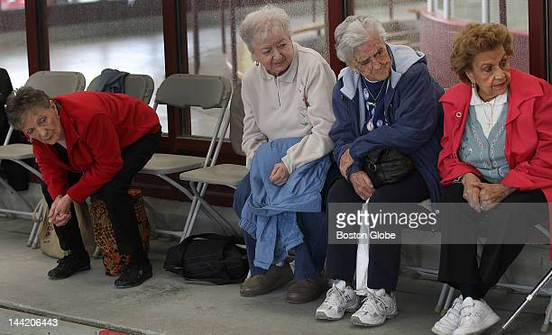 Left to right Barbara Melvin Laura Kwiatkowski Mary Saunier and Mary Frangiamone all from Chelsea watch a bocce tournament as part of the annual...