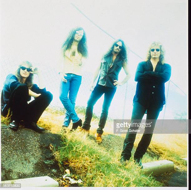Bassist David Ellefson guitarist Marty Friedman drummer Nick Menza and singer/ guitarist Dave Mustaine of Megadeth is photographed in 1994 in Los...