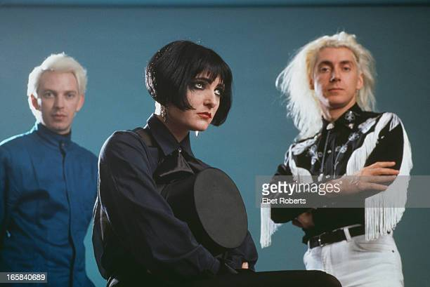 bassist Steven Severin singer Siouxsie Sioux and drummer Budgie of English rock group Siouxsie and the Banshees New York City 28th October 1988