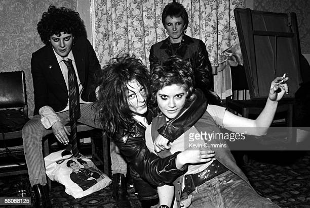 Bassist Tessa Pollitt singer Ari Up and drummer Palmolive of punk group The Slits at the Oaks pub in Chorlton Manchester 28th April 1977