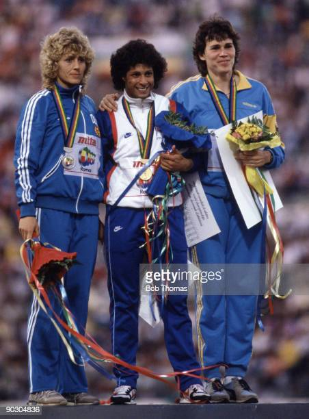 Left to right Beate Peters of East Germany Fatima Whitbread of Great Britain and Petra Felke of East Germany medallists in the women's javelin event...