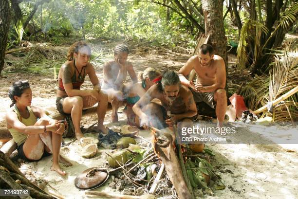 left to right Becky Lee Jessica Smith Sundra Oakley Candice Woodcock AnhTuan 'Cowboy' Bui and Jonathan Penner during the sixth episode of SURVIVOR...