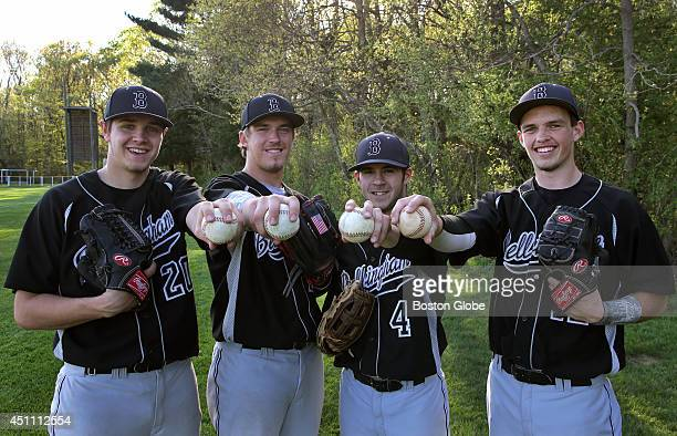 Left to right Bellingham High seniors Kevin Martinis David Sampson Brad Rebello and Connor Birch have been the core of Bellingham's pitching strength