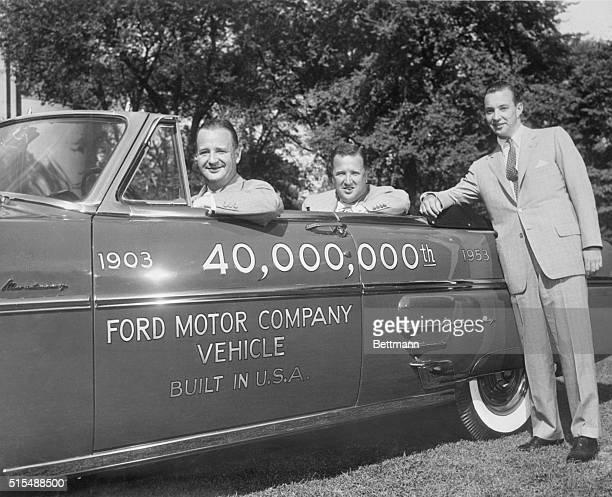 Benson Ford Henry Ford II and William Ford in 40000th Ford car