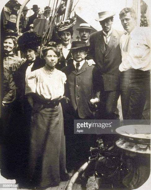 Left to right Bertha Newberry Mrs Carlton Bierce Charmian London Carrie Sterling James Hopper Dick Partington George Sterling Jack London on board...