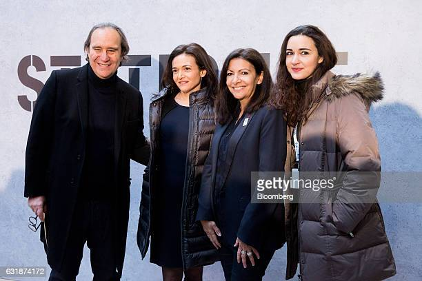 Left to right Billionaire Xavier Niel creator of Station F megacampus for startups Sheryl Sandberg chief operating officer of Facebook Inc Anne...