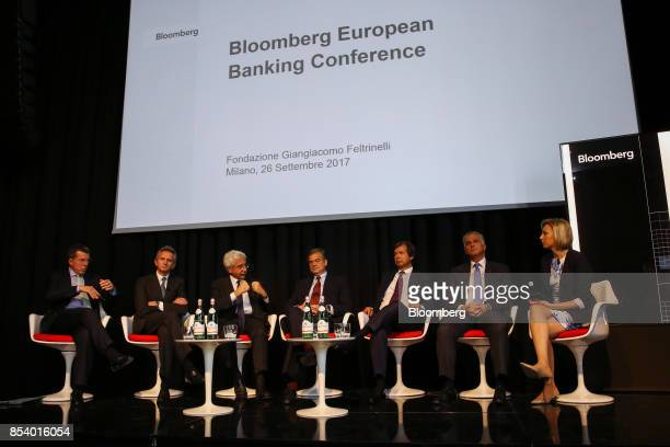 Left to right Bob Diamond chief executive officer of Atlas Merchant Capital LLC Alberto Nagel chief executive officer of Mediobanca SpA Salvatore...