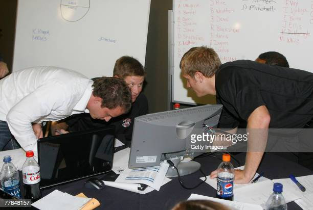 Left to right; Brandt Andersen, owner of the Utah Flash basketball team, Brad Jones, Head Coach and Kevin Young, Director of Basketball Operations...