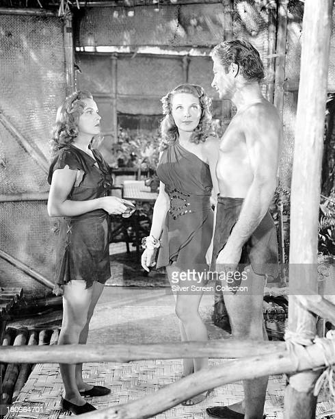 Brenda Joyce as Jane Evelyn Ankers as Gloria James Jessup and Lex Barker as Tarzan in 'Tarzan's Magic Fountain' directed by Lee Sholem 1949