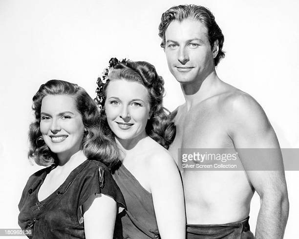 Brenda Joyce as Jane Evelyn Ankers as Gloria James Jessup and Lex Barker as Tarzan in a promotional portrait for 'Tarzan's Magic Fountain' directed...