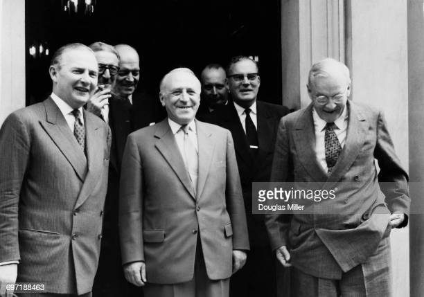 British Foreign Secretary Selwyn Lloyd Soviet Deputy Minister of Foreign Affairs Valerian Zorin and US Secretary of State John Foster Dulles at a...