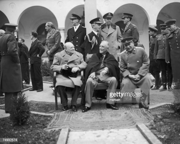 British Prime Minister Winston Churchill , US President Franklin Delano Roosevelt and Soviet leader Joseph Stalin in the grounds of the Livadia...