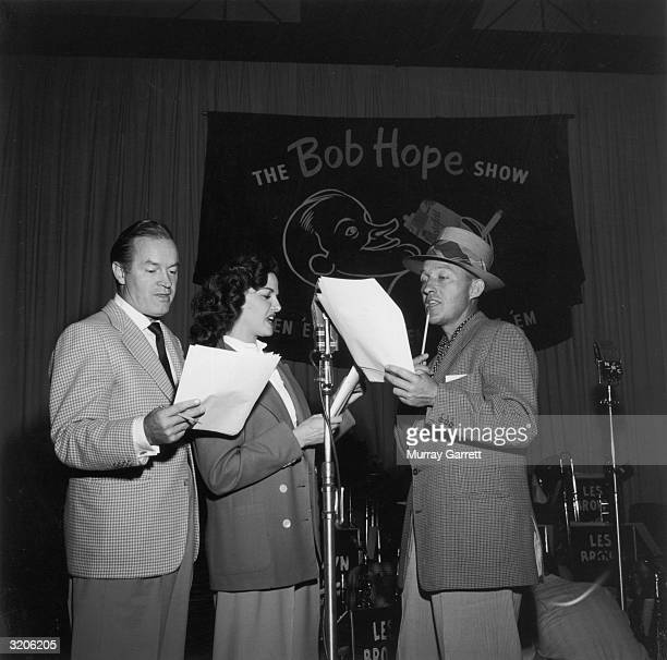 Left to right: British-born actor Bob Hope , American actor Jane Russell, and American actor Bing Crosby in rehearsal for Hope's NBC radio show, Los...